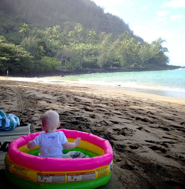 taking your baby to the beach - inflatable pool