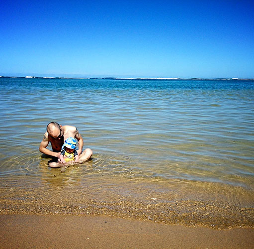 taking your baby to the beach - play with dad