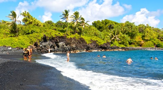 Black Sand Beach on the Road to Hana