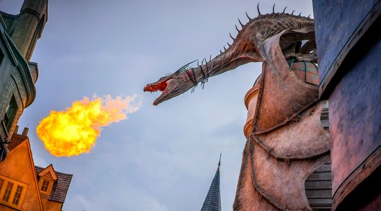 Harry Potter World Dragon Breathing Fire over Gringotts
