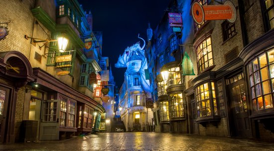 Diagon Alley at Night in Harry Potter World