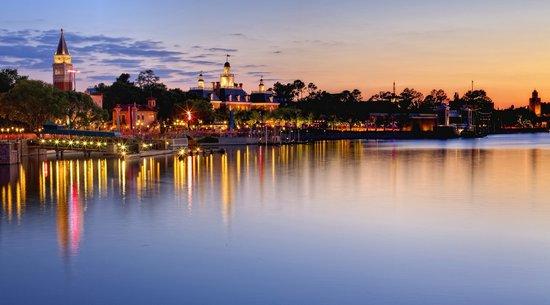 Peaceful sunset sit along the lake at Epcot World Showcase