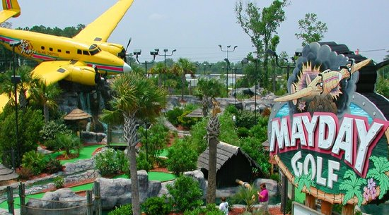 Big Yellow Airplane at Mayday Mini Golf in Myrtle Beach