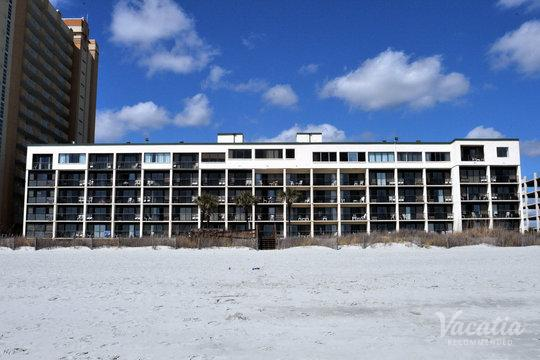 View of resort rental from beach